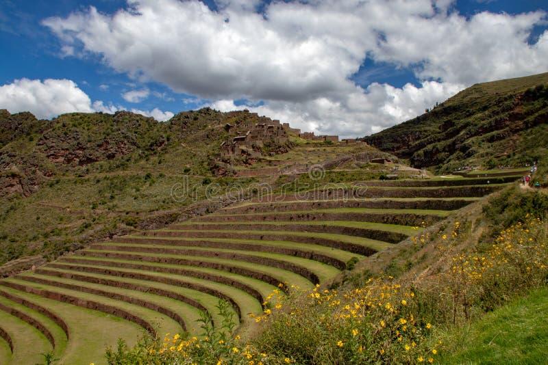 Inca Ruins i Pisac arkivbilder