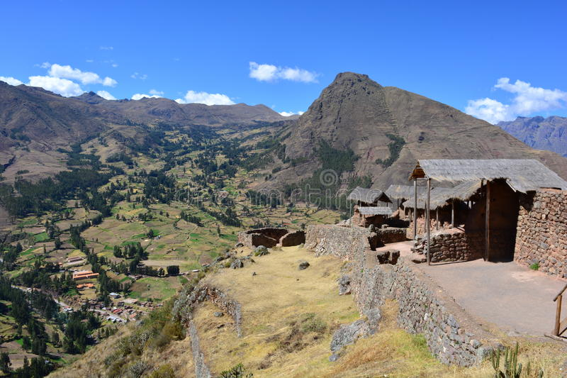 Inca ruins of Pisac, Peru stock photography