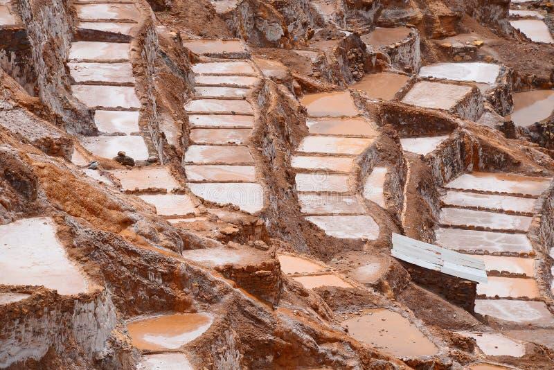 Inca salt farm. Inca ancient salt farm produced by evaporation in Peru royalty free stock photography