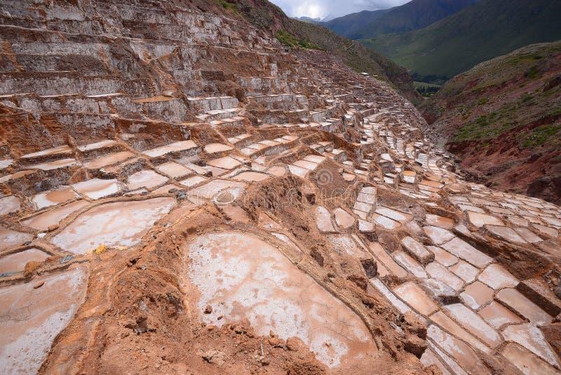 Inca salt farm. Inca ancient salt farm produced by evaporation in Peru stock photo