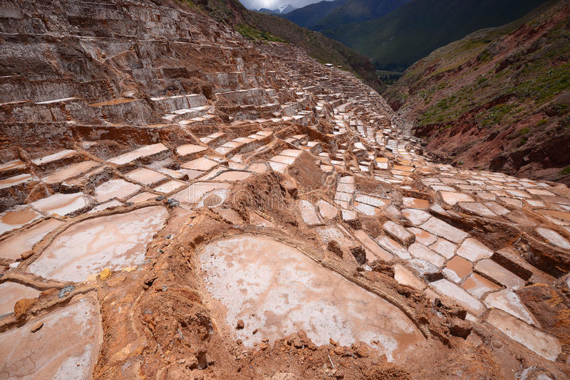 Inca salt farm. Inca ancient salt farm produced by evaporation in Peru royalty free stock image