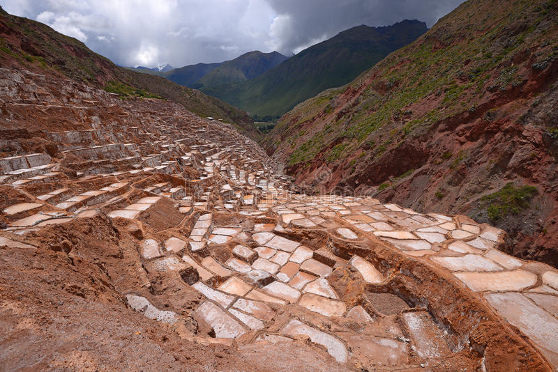 Inca salt farm. Inca ancient salt farm produced by evaporation in Peru stock images