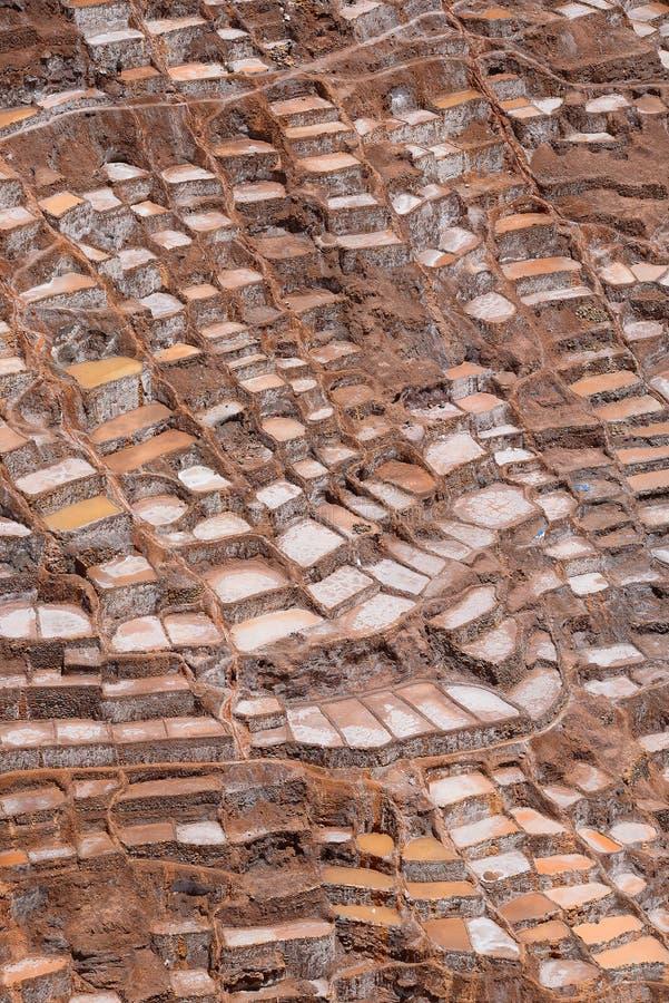 Inca salt farm. Inca ancient salt farm produced by evaporation in Peru stock photography