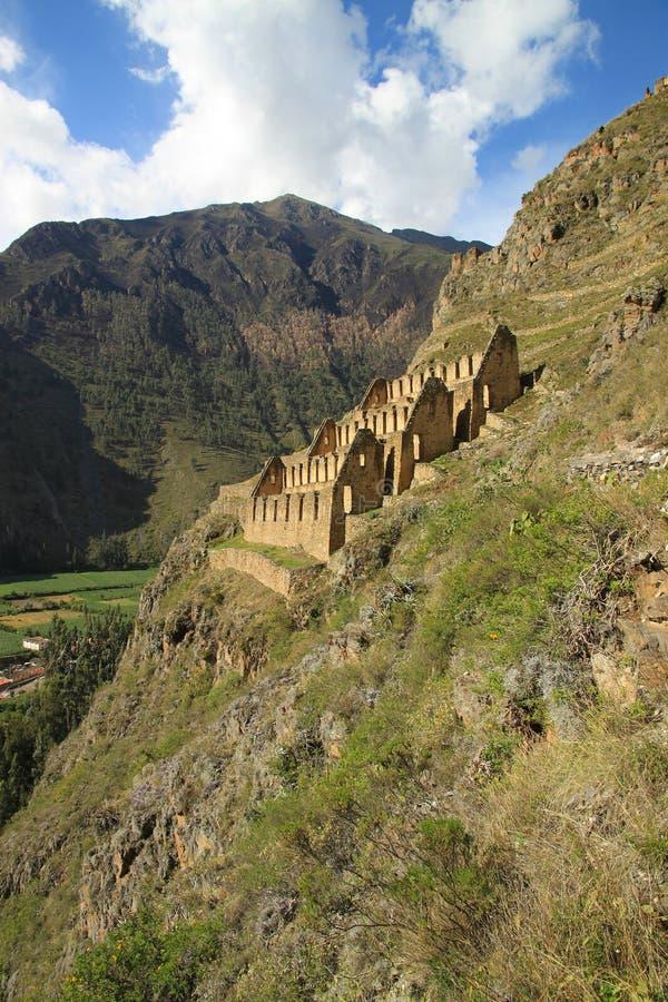 Inca Sorehouses Peru. Pinkuylluna arkivbild