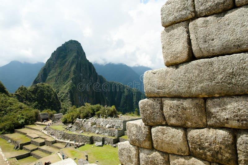 Inca Stone Bricks Construction - Machu Picchu - Peru stock afbeelding