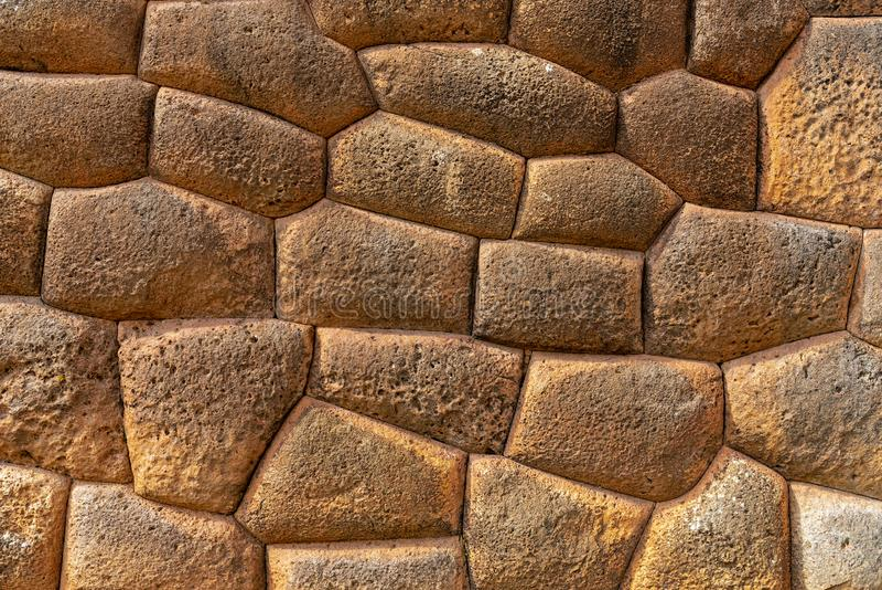 Inca Stonework Perfection i Chinchero, Peru arkivbild