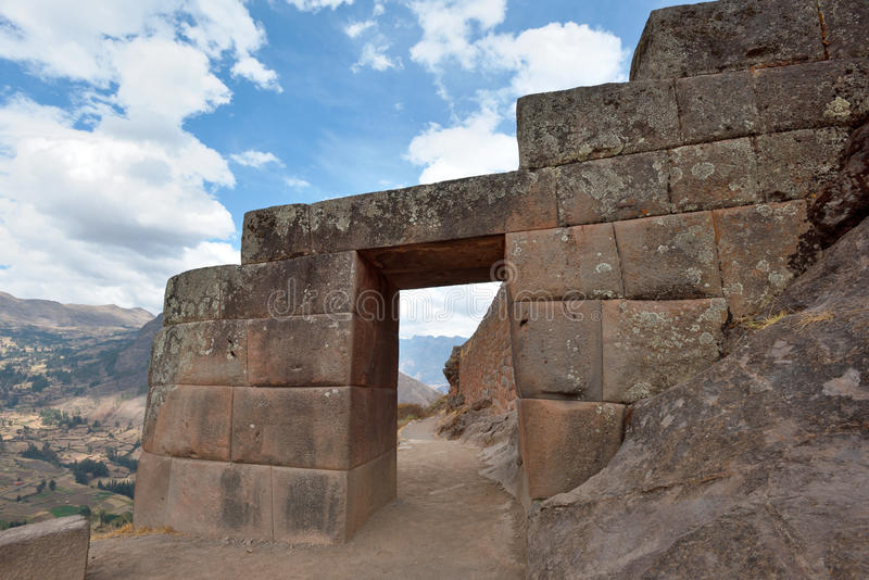 Inca structures in the urban sector of Pisac. Pisac is a Peruvian village in the Sacred Valley of the Incas royalty free stock image