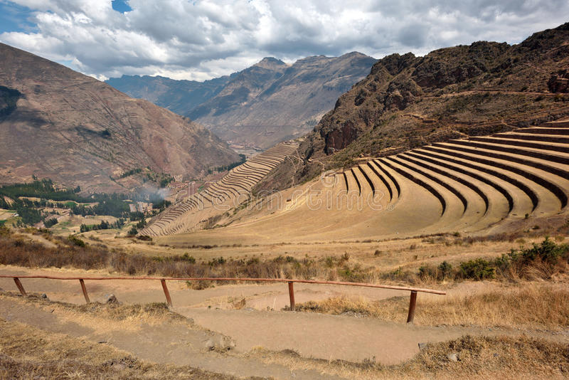 Inca structures in the urban sector of Pisac. Pisac is a Peruvian village in the Sacred Valley of the Incas royalty free stock photography