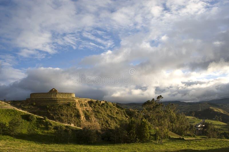 Inca temple Ingapirca. Inca ruined city Ingapirca, Ecuador, Canar royalty free stock image
