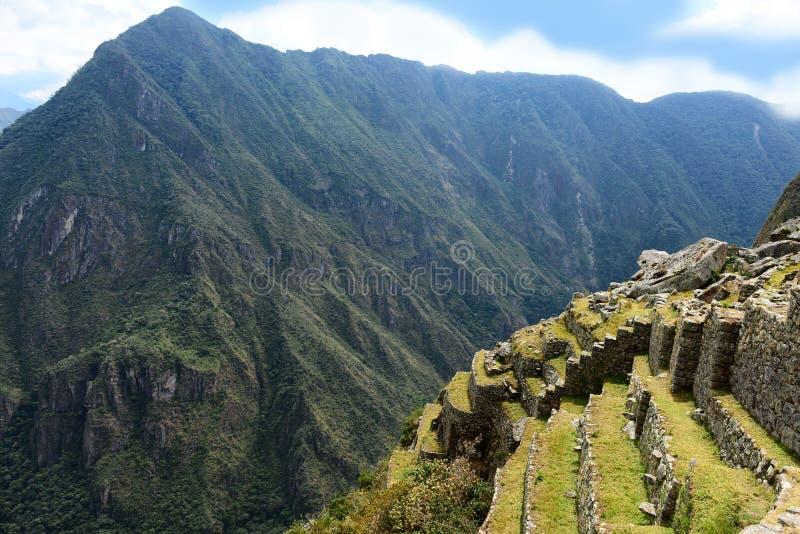Inca terraces. Inca city Machu Picchu in Peru. Ancient lost city in mountains stock photo