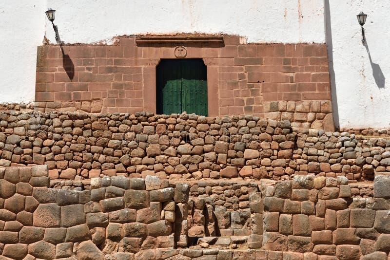 Inca wall in the village Chinchero, Peru. South America royalty free stock image