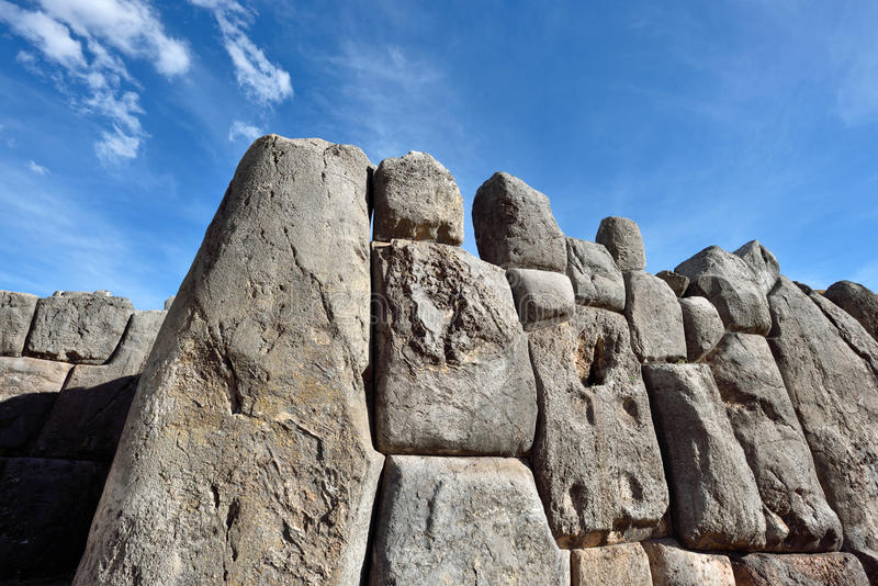 Inca wall in the village Saksaywaman, Peru. South America stock images