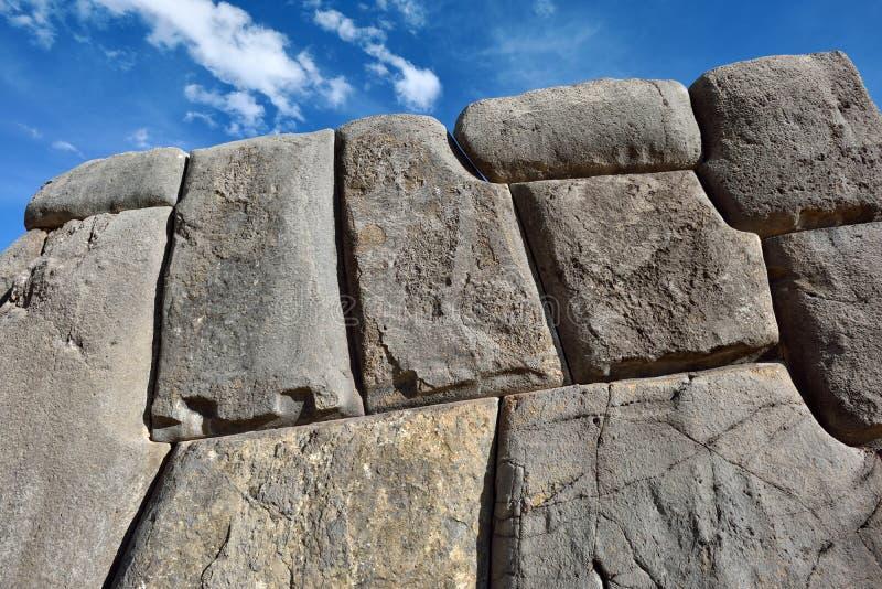 Inca wall in the village Saksaywaman, Peru. South America royalty free stock photos