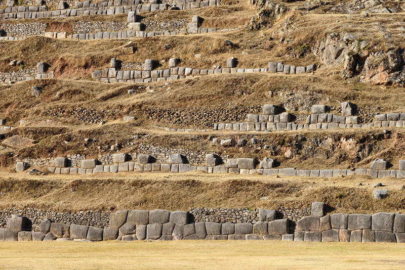 Inca wall in the village Saksaywaman Peru. Inca wall in the village Saksaywaman, Peru, South America royalty free stock image