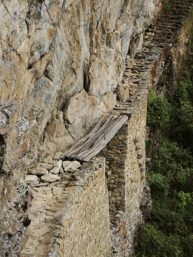 Incabrug in Machu Picchu, Peru royalty-vrije stock afbeeldingen