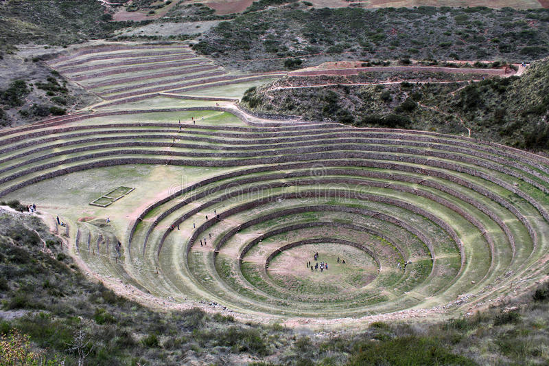 Incan agricultural terraces at Moray, Cusco, Peru royalty free stock photo