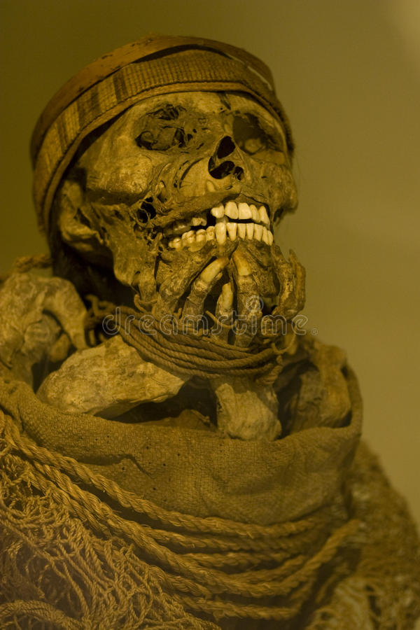 Incan mummy. Inca mummy skeleton bound and party clothed stock photography