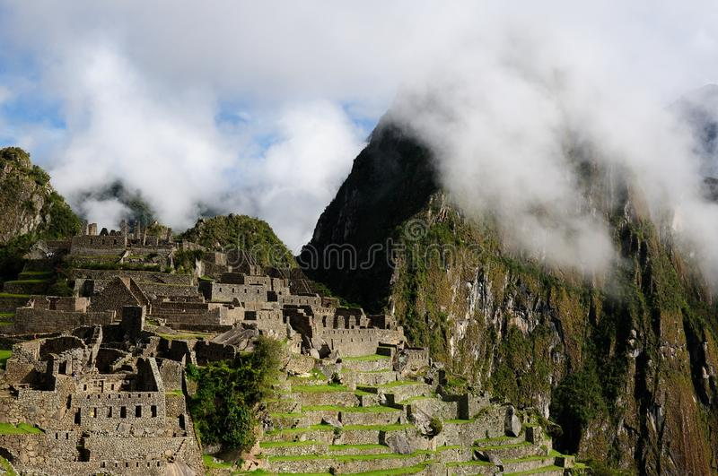 The Incan ruins Machu Picchu mysterious city in Peru, South America royalty free stock photo