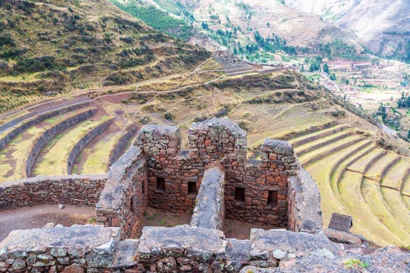 Incan tarasy i ruiny zdjęcie stock