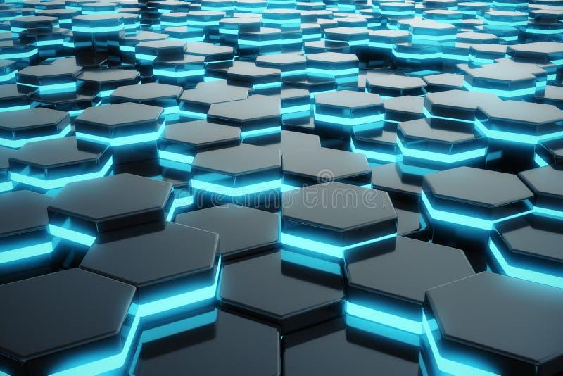 Incandescência azul abstrata do teste padrão de superfície futurista do hexágono rendição 3d ilustração do vetor