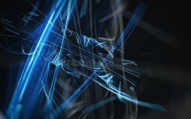 A incandescência azul brilhante alinha em um fundo preto ilustração do vetor