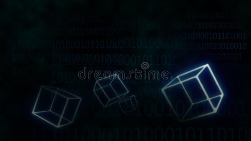 A incandescência azul do Internet da conexão obstrui o papel de parede da tecnologia do blockchain fotos de stock