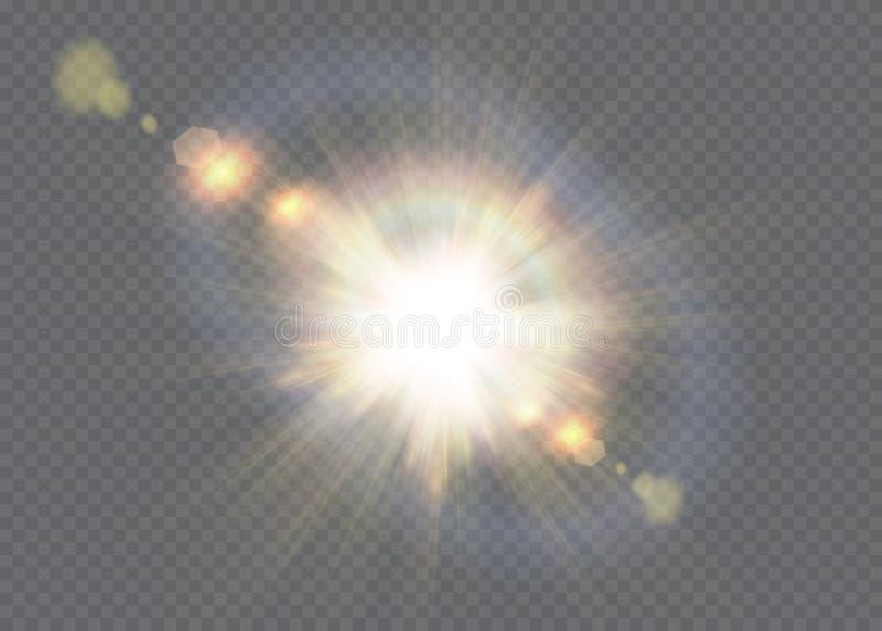A incandescência branca clara explode em um fundo transparente Vector a ilustração do efeito claro da decoração com raio ilustração do vetor