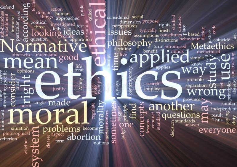 Incandescência da nuvem da palavra das éticas ilustração stock