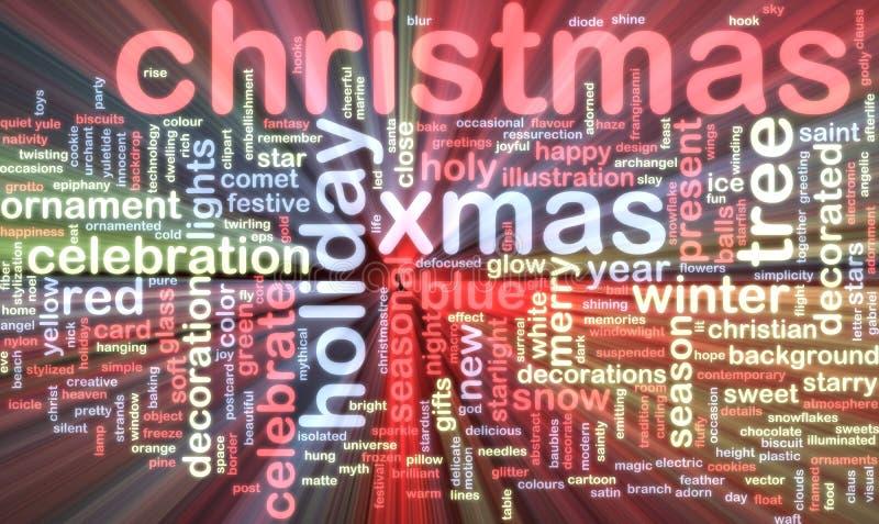 Incandescência da nuvem da palavra do Natal ilustração do vetor