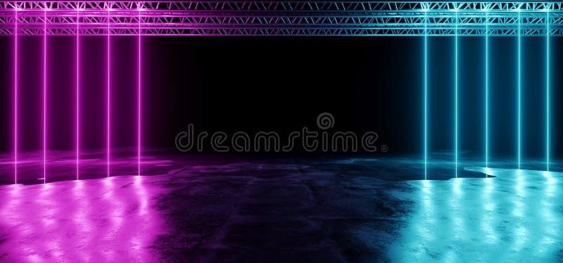 A incandescência de néon sumário roxo e azul do tubo deu forma à fase Li do laser ilustração royalty free