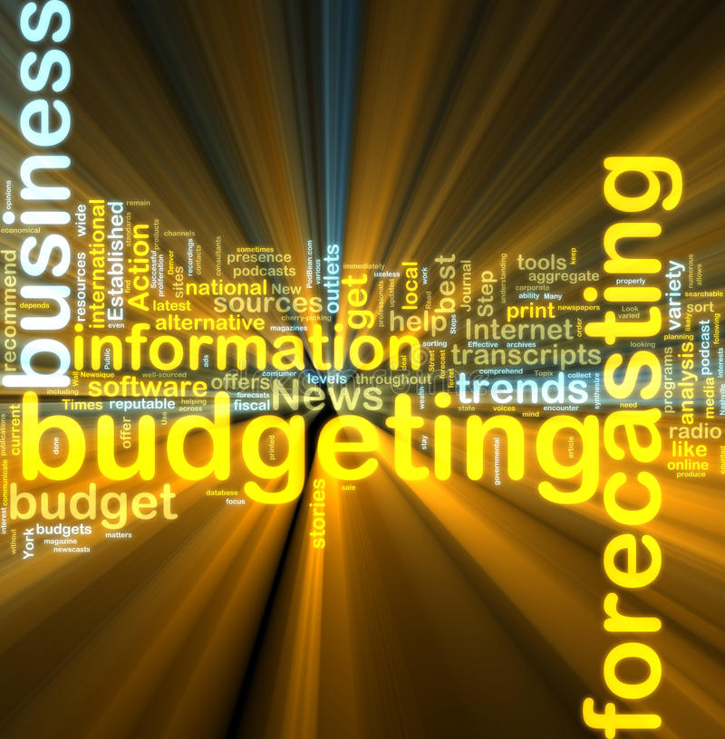 Incandescência de realização do orçamento do wordcloud ilustração do vetor