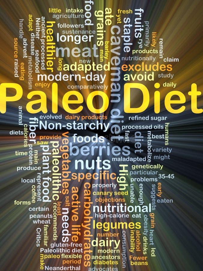 Incandescência do conceito do fundo da dieta de Paleo ilustração royalty free