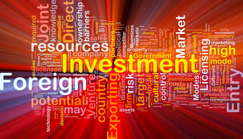 Incandescência do conceito do fundo do investimento estrangeiro ilustração stock
