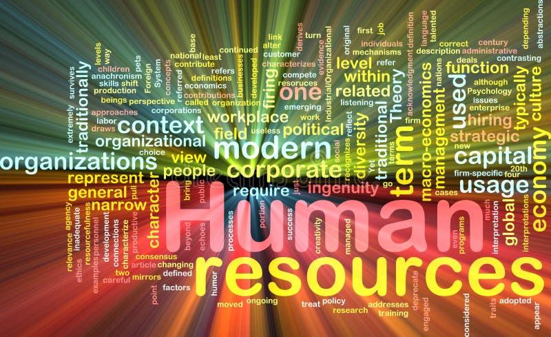 Incandescência do conceito do fundo dos recursos humanos ilustração do vetor