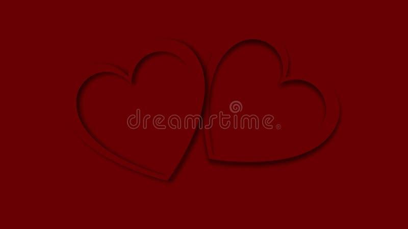 A incandescência festiva vermelha do sumário bonito cinzelou dois corações feitos do papel colorido para o dia de Valentim feliz  ilustração stock