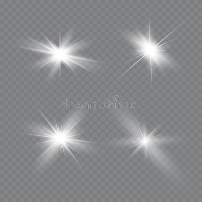 A incandesc?ncia branca clara explode em um fundo transparente Part?culas de poeira m?gicas efervescentes Estrela brilhante Sol d ilustração do vetor