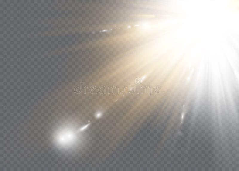 A incandesc?ncia branca clara explode em um fundo transparente Part?culas de poeira m?gicas efervescentes Estrela brilhante Sol d ilustração stock