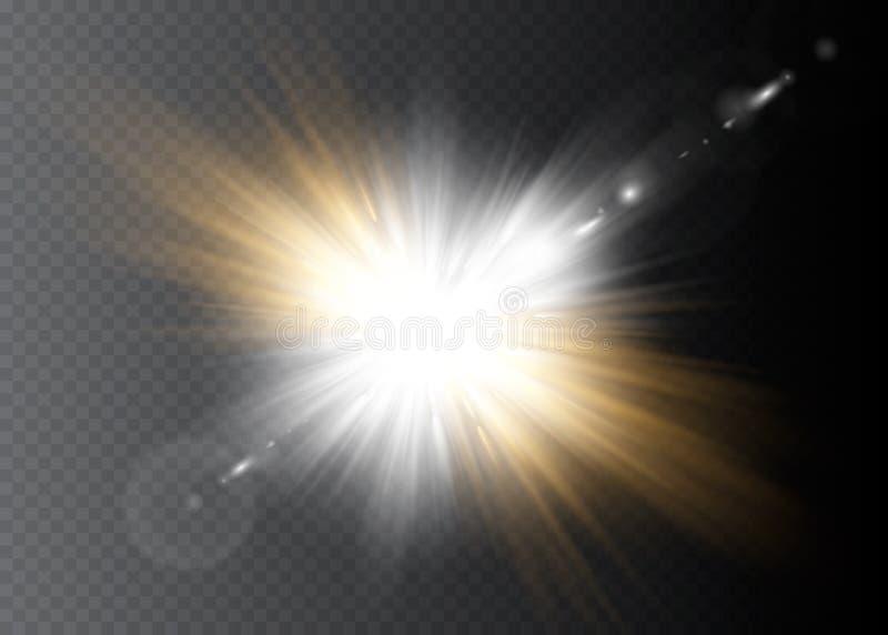 A incandesc?ncia branca clara explode em um fundo transparente Part?culas de poeira m?gicas efervescentes Estrela brilhante Sol d ilustração royalty free
