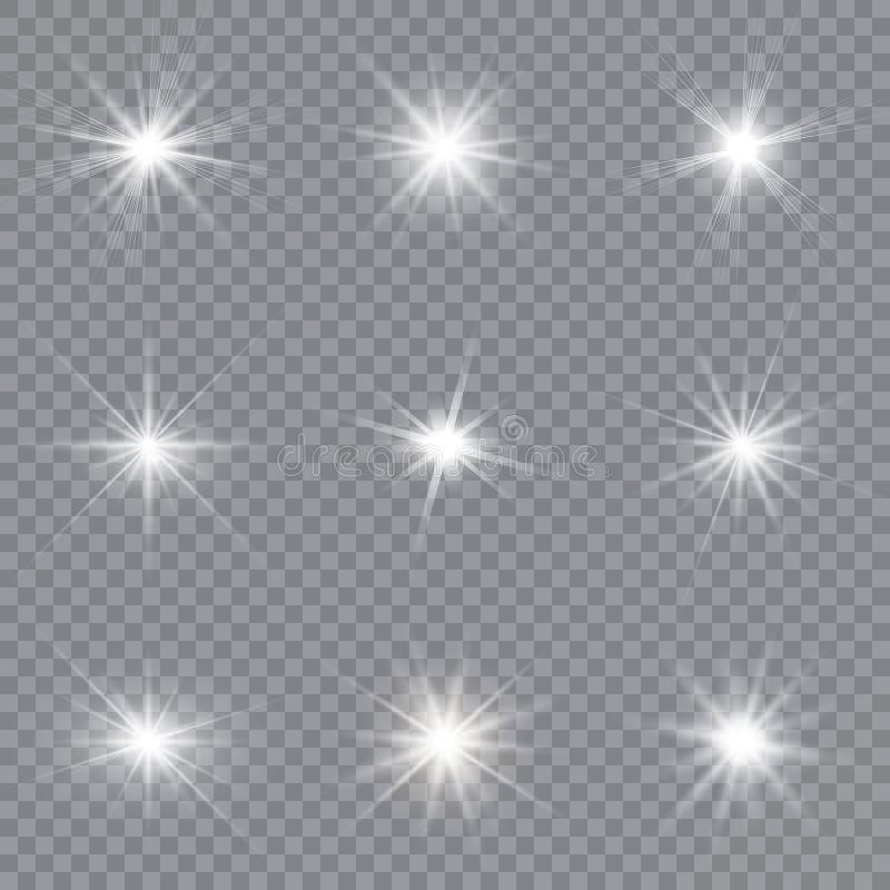 A incandesc?ncia branca clara explode em um fundo transparente Part?culas de poeira m?gicas efervescentes Estrela brilhante ilustração stock