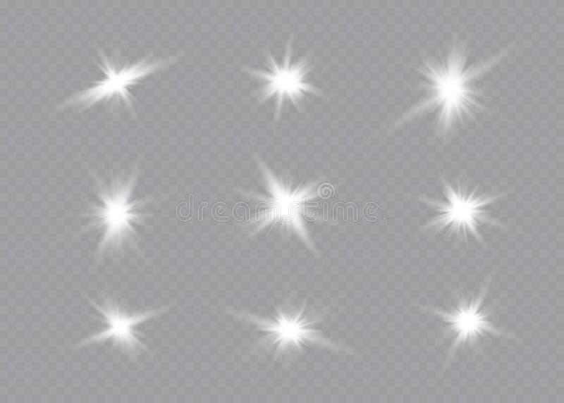 A incandesc?ncia branca clara explode em um fundo transparente Part?culas de poeira m?gicas efervescentes Estrela brilhante trans ilustração stock