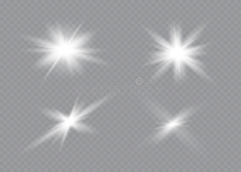 A incandesc?ncia branca clara explode em um fundo transparente Part?culas de poeira m?gicas efervescentes Estrela brilhante trans ilustração royalty free