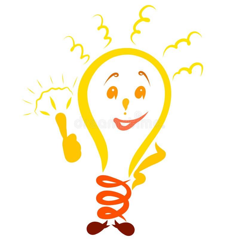 Incandesce a lâmpada com cara e as mãos, têm uma ideia ilustração do vetor