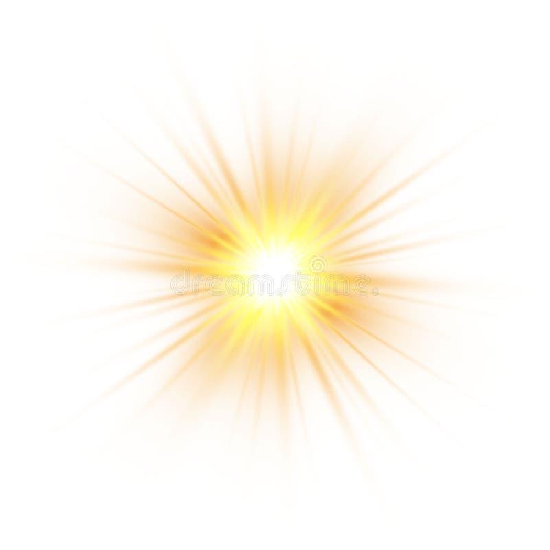 Incandesce o efeito da luz, explosão, brilho, faísca, flash do sol Ilustração do vetor ilustração stock