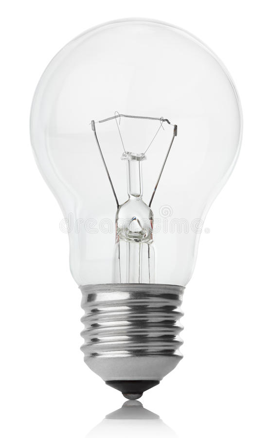 Incandescent lamp on white. Incandescent lamp isolated on white with clipping path royalty free stock photos