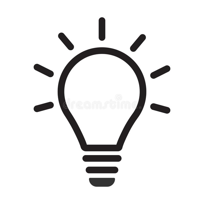 Incandescent light bulb / lightbulb turned on or idea line art vector icon for apps and websites stock photos