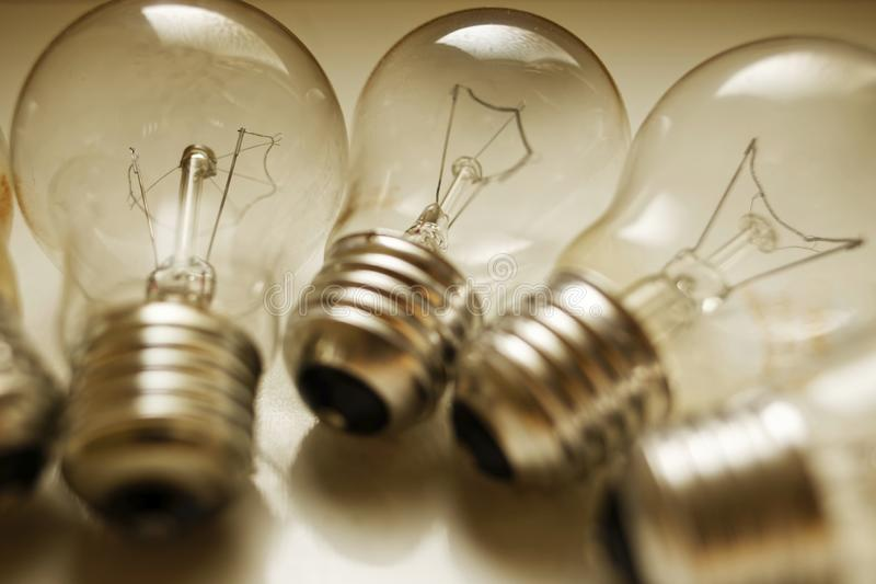 Incandescent light bulbs. In a group stock photo