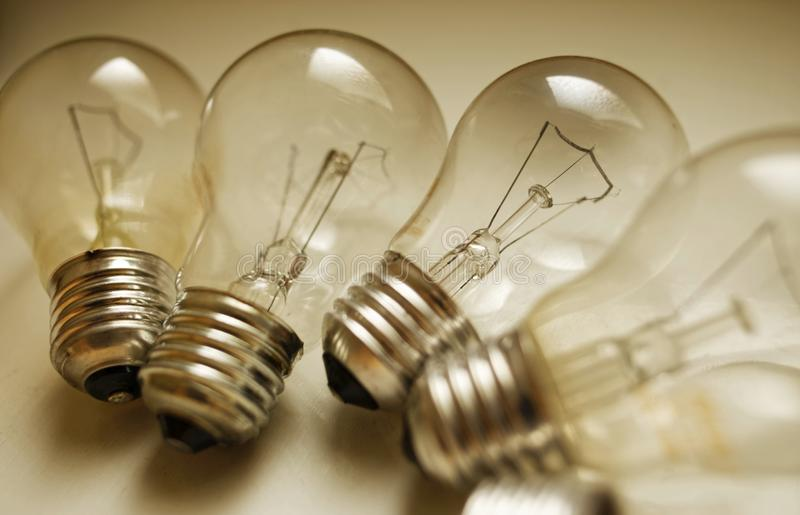 Incandescent light bulbs. In a group royalty free stock images