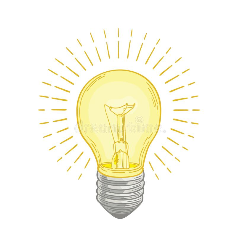 Incandescent lightbulb glowing with bright yellow light hand drawn on white background. Drawing of electric lamp. Symbol stock illustration