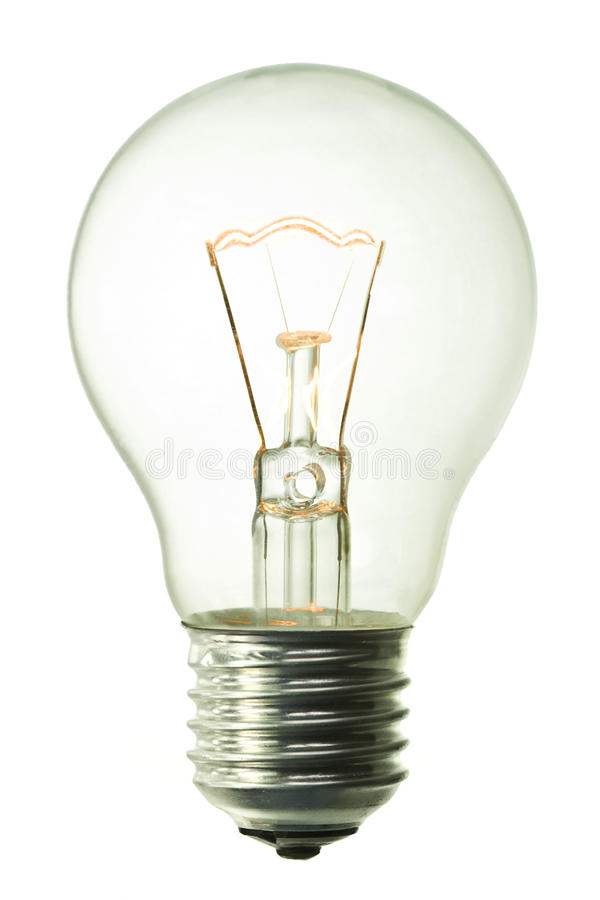 Incandescent lighted bulb. Isolated on pure white background royalty free stock photo