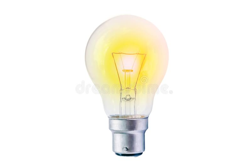 Incandescent lighted bulb isolated on white background. The incandescent lighted bulb isolated on white background royalty free stock photo